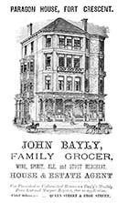 Advertisement: John Bayly, Grocer, Paragon House, Fort Crescent 1881 | Margate History