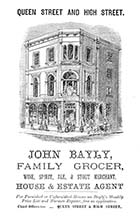 Advertisement: John Bayly, Grocer, Queen Street and High Street 1881 | Margate History