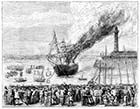 Capt. Davis's private brigade extinguishing a fire on a brig in Margate Harbour 1875 | Margate History